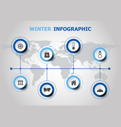 infographic design with winter icons vector image