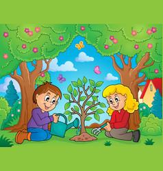 Kids planting tree theme image 2 vector