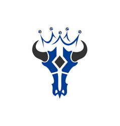 king bull skull logo icon vector image