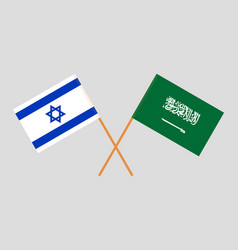 Kingdom of saudi arabia and israe flags vector