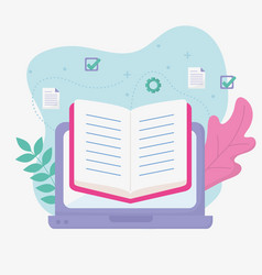Laptop book school education online image vector