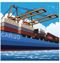 Loading of containers by large port cranes vector