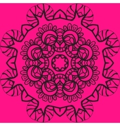Mandala in outlines over pink color background vector image