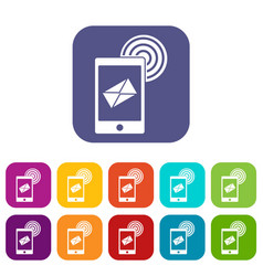 Mobile mail sign icons set flat vector