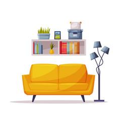 Modern cozy room interior design sofa bookshelf vector