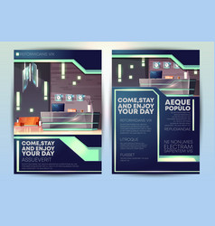 modern hotel ad brochure cartoon template vector image