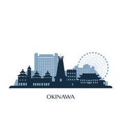 okinawa skyline monochrome silhouette vector image