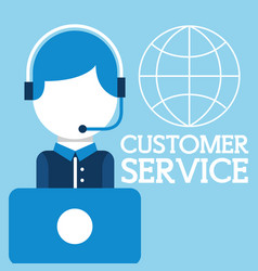operator man headset laptop world customer service vector image