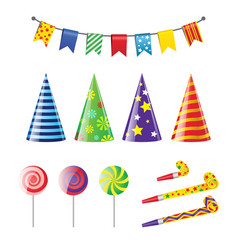 party elements - realistic set of holiday vector image