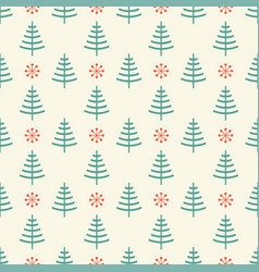 Pattern with tree and snowflake vector