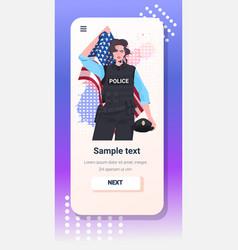 Policewoman in uniform holding usa flag happy vector