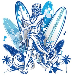 poseidon surfer on surfboard background vector image
