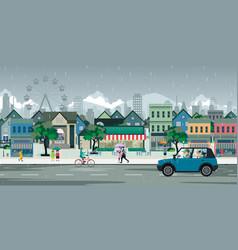 Rain city vector