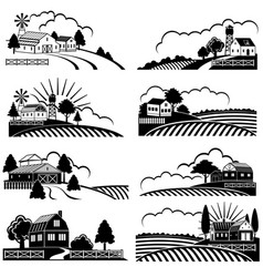Retro rural landscapes with farm building in field vector