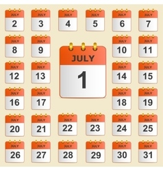 Set of icons for the calendar in July vector image