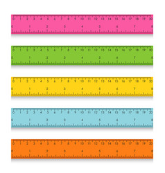 Set of multicolored school measuring rulers with vector