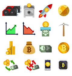 Set of twelve cripto currency flat icons vector