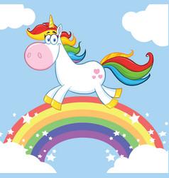 Smiling magic unicorn mascot character vector