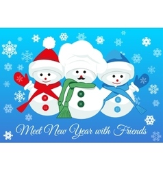 Snowmen friends greet new year vector