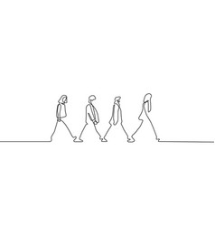 Social distance beatles on road continious vector