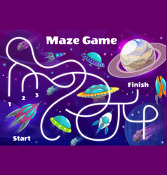 space labyrinth maze kids game puzzle boardgame vector image