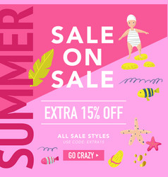 summer sale banner with beach elements vector image