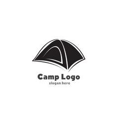tent camp black logo vector image