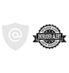 Textured intruder alert ribbon seal stamp and mesh vector