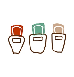 Three nail polish are placed vector