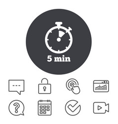 timer sign icon 5 minutes stopwatch symbol vector image