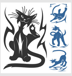 tribal cats for tattoo - set vector image