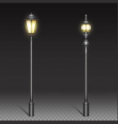 vintage street lamps black iron lantern on post vector image
