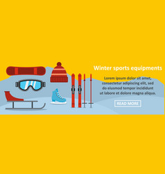 winter sports equipments banner horizontal concept vector image