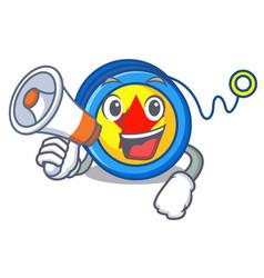With megaphone yoyo character cartoon style vector