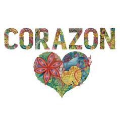 Word corazon with shape of heart heart in spanish vector