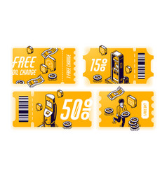 yellow coupons for free oil change vector image