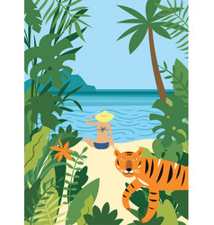 young woman on beach and tiger vector image