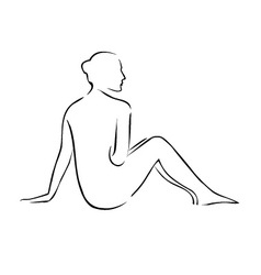 Abstract drawing of a nude lady vector image vector image