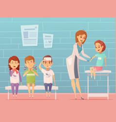 children visit pediatrician composition vector image