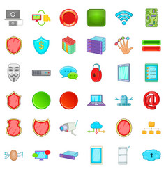 cyber security icons set cartoon style vector image vector image