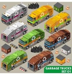 Garbage Truck 01 Vehicle Isometric vector image vector image