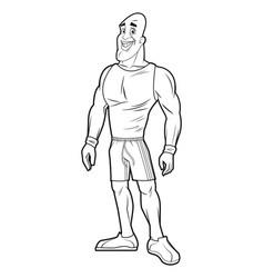healthy man athletic muscular sketch vector image