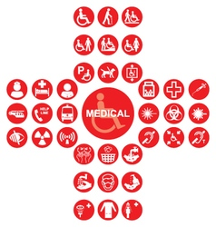 Red Medical and health care Icon collection vector image