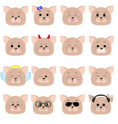 cat emoticon cat face set vector image