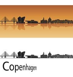 Copenhagen skyline in orange background vector image vector image