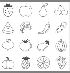 fruits and vegetables sketch vector image vector image