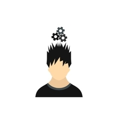 Man with metal gears over his head icon flat style vector image