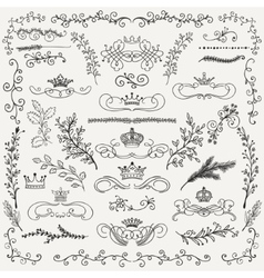 Black hand drawn floral design elements vector