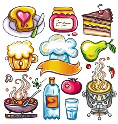 ready-to-eat food icons vector image vector image