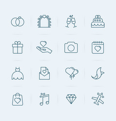 set of wedding icons in thin line style vector image vector image